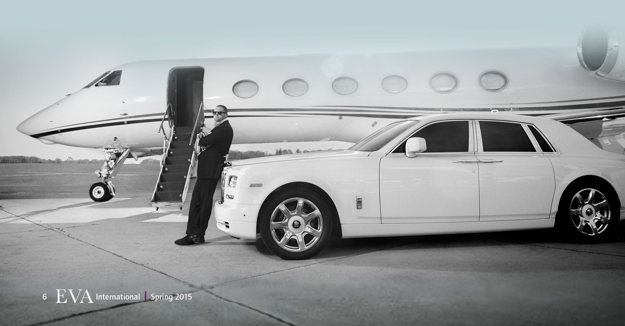 Christopher R. King with private jet and Rolls Royce Eva Magazine