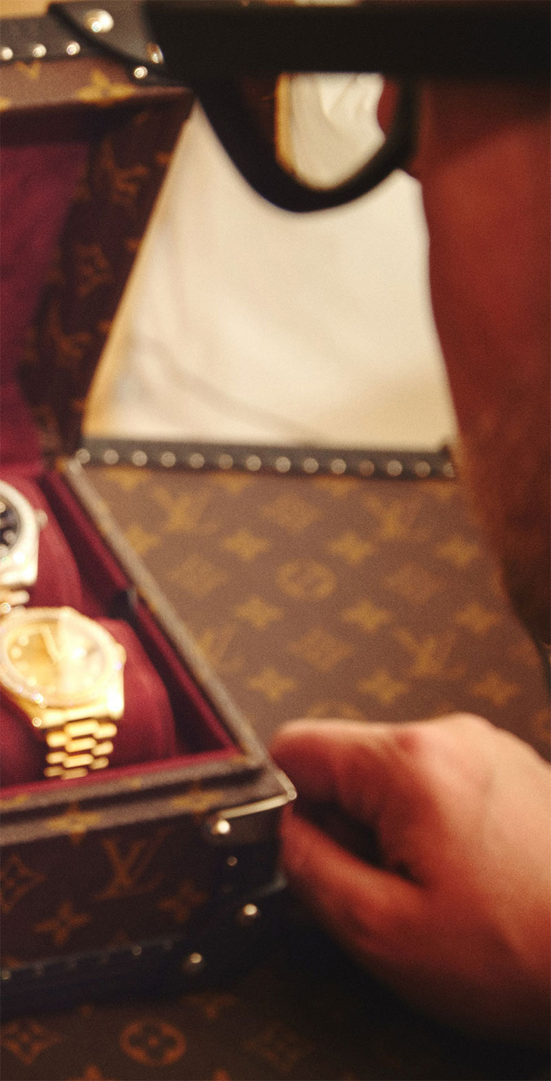 Christopher King with Louis Vuitton Watch Case