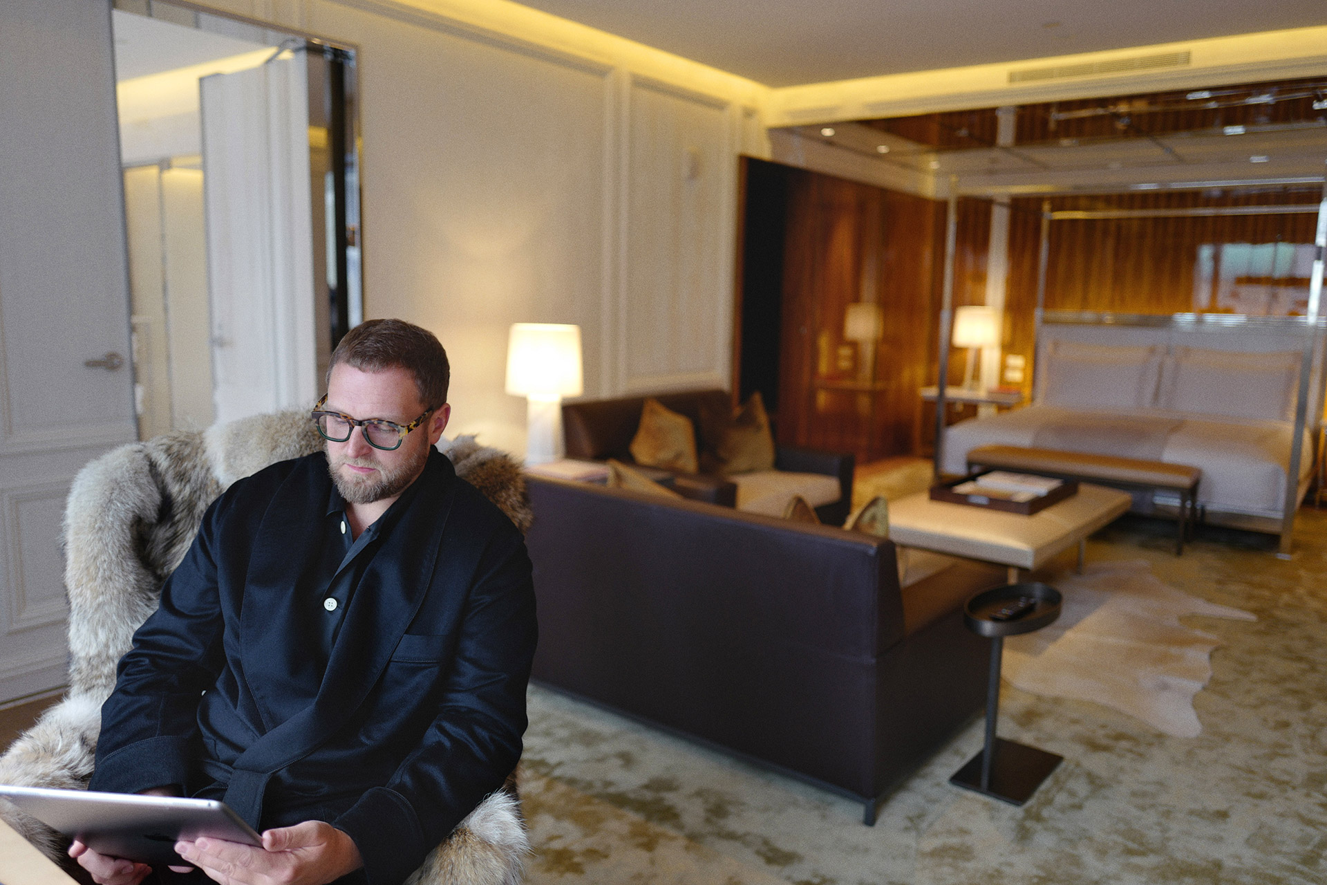 Christopher R King in the Presidential Suite Bedroom Baccarat Hotel New York City